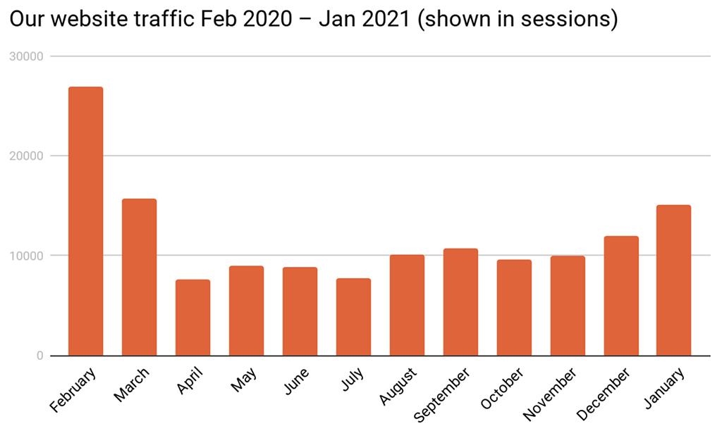 Career Gappers website traffic Feb 2020 – Jan 2021