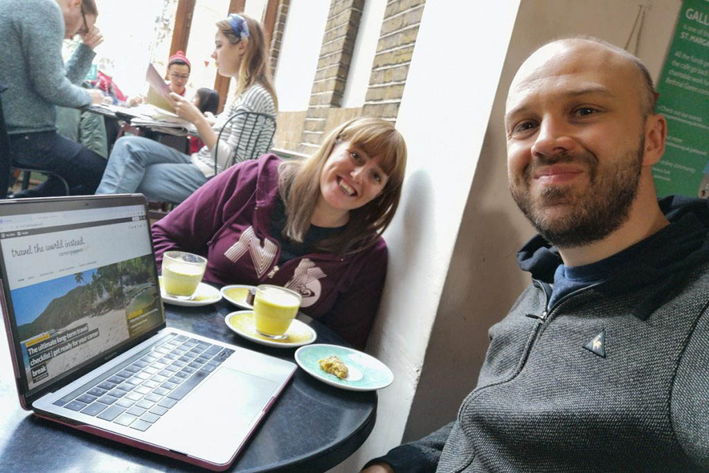 Alex and Lisa blogging in Bethnal Green London