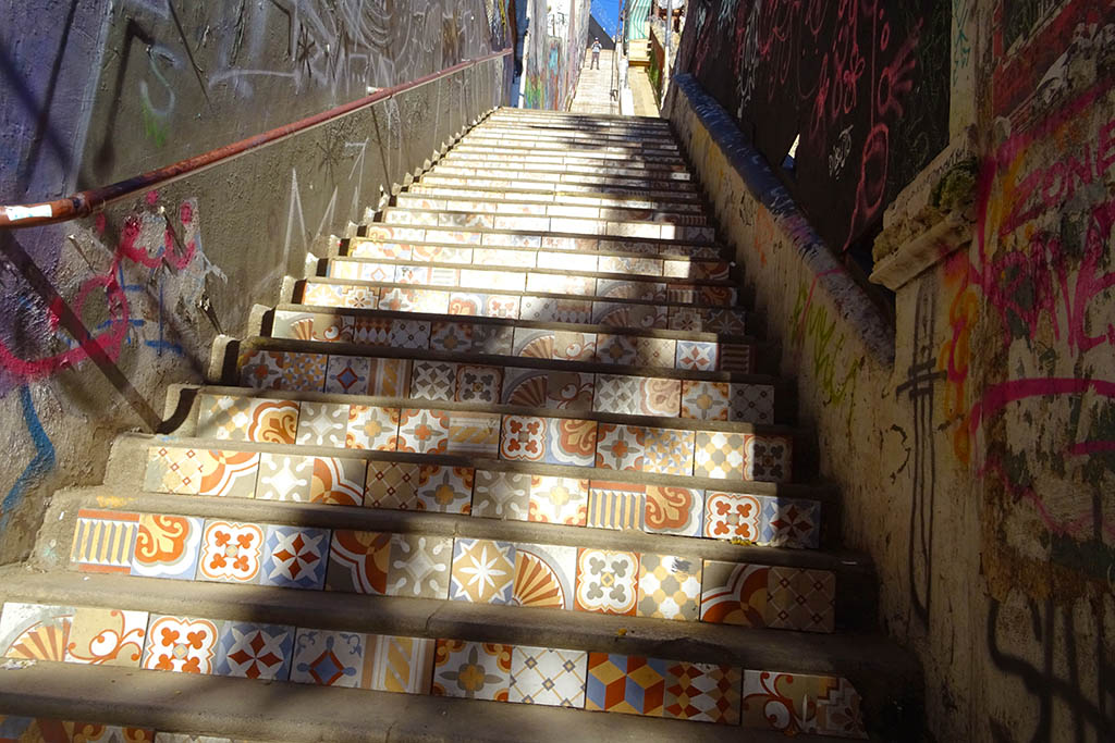 Exploring the city's artistic staircases is one of the fun things to do Valparaíso, Chile