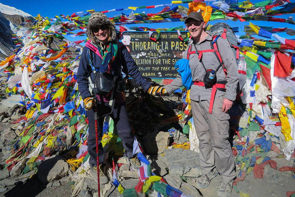 Lara at the Thorang La pass, the highest point of the Annapurna Circuit in Nepal