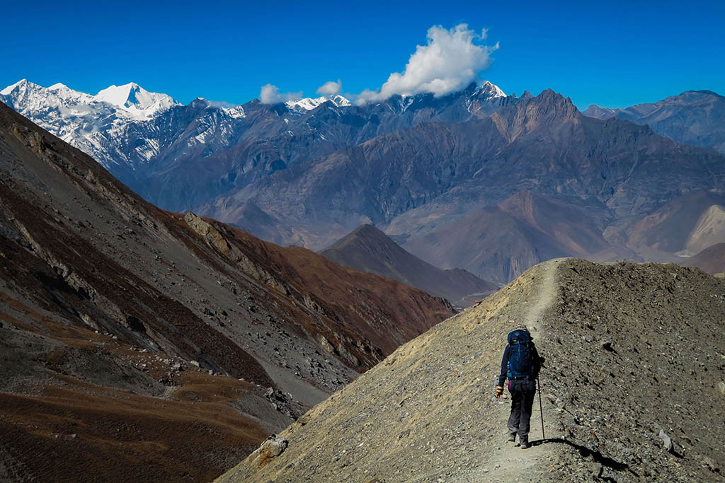 Lara trekking on her travel career break