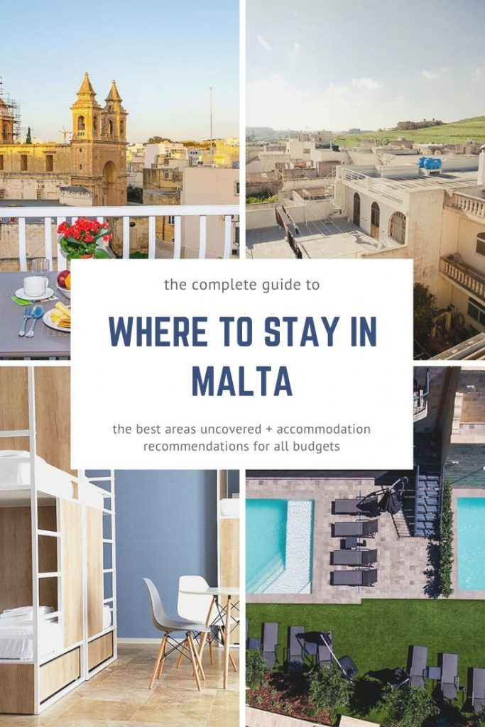 A complete guide to where to stay in Malta, uncovering the best areas with recommendations on the hotels, hostels, guest houses and B&Bs for all budgets. #malta #maltahotels #placestostayinmalta #maltaaccommodation #maltahostels