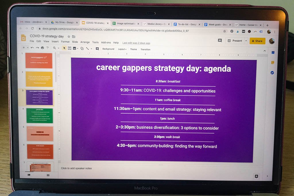 Career Gappers strategy day 2020 agenda