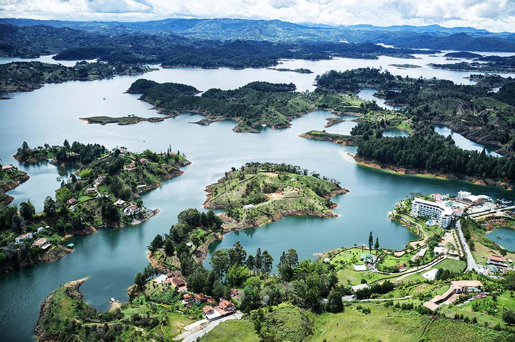 View of Guatapé Reservoir from the top of El Peñón