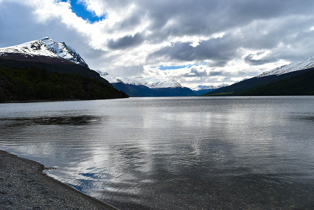 The gloomy waters of Lago Roca at the heart of Tierra Del Fuego National Park