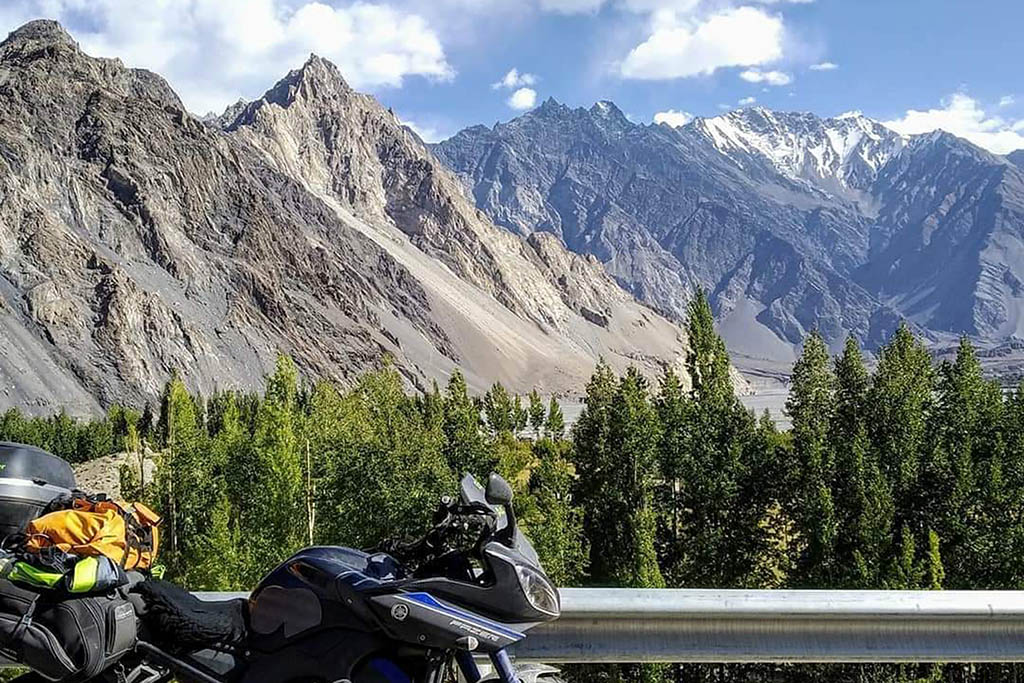 The mountainous backdrop as Alex rode through the legendary Karakoram Highway in Pakistan