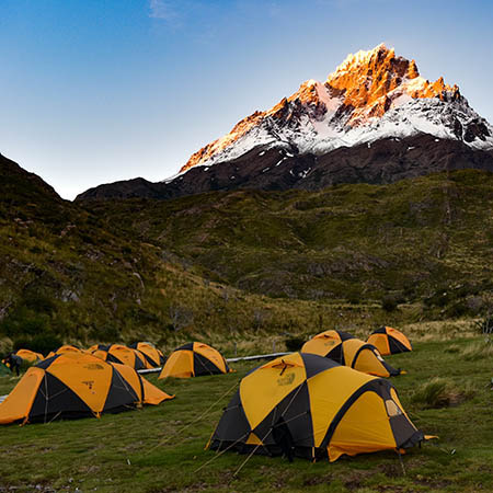 Camping Paine Grande tents Torres Del Paine Patagonia