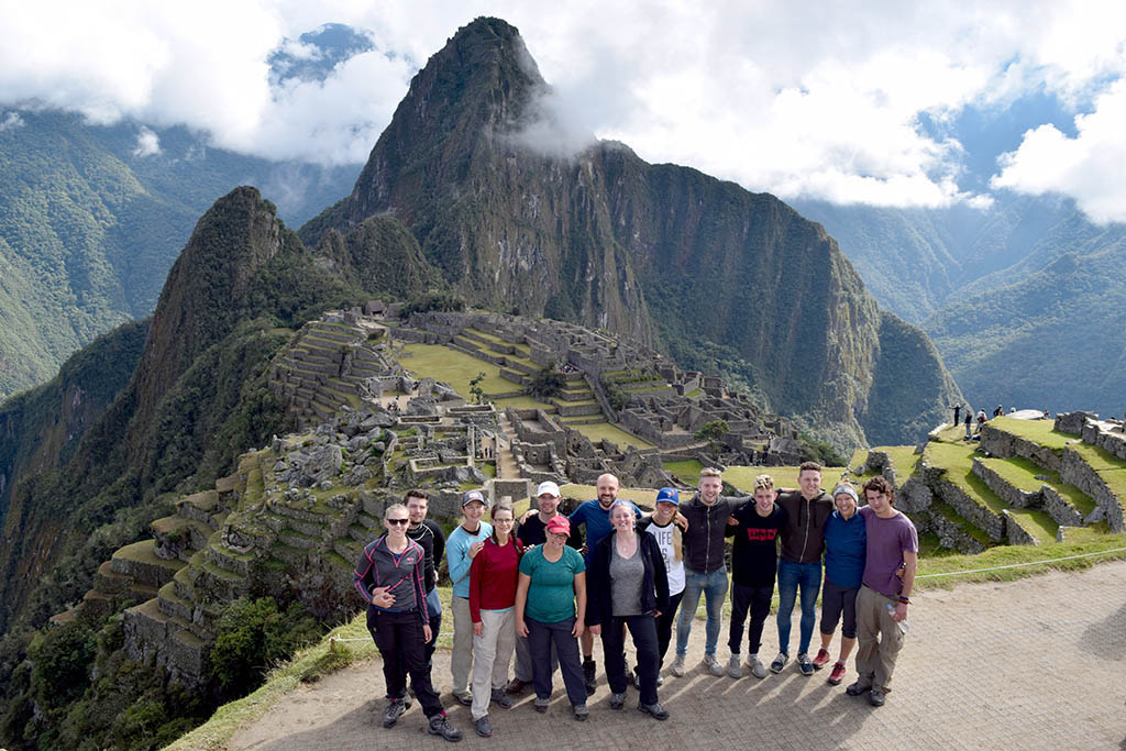 Small group tours in South AmericaG Adventures team photo at Machu Picchu