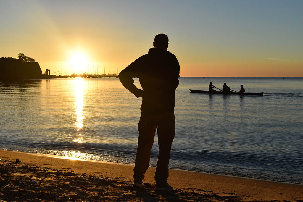 Watching the sunset at Playa El Alamo, Colonia Del Sacramento, Uruguay