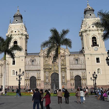 Plaza Mayor palm trees Lima Peru
