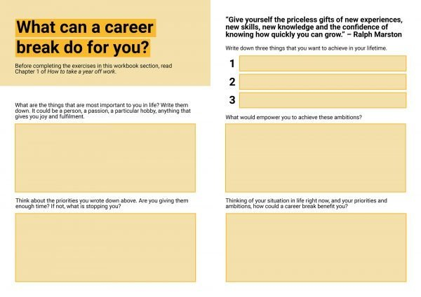 Career break workbook section preview