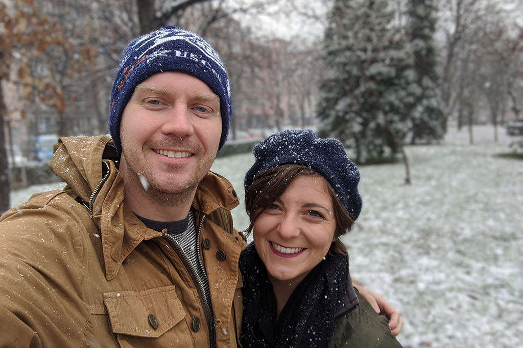 Garrett and Darah travelling in Sofia, Bulgaria