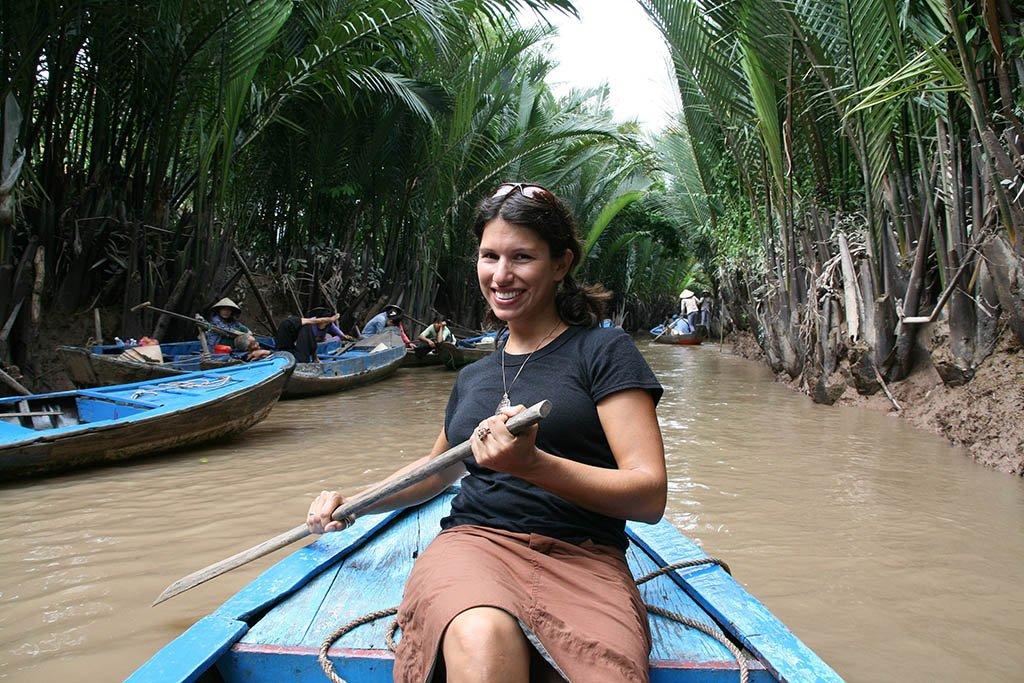 Paddling through the Mekong in Vietnam