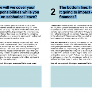 Sabbatical Negotiation Cheatsheet section preview