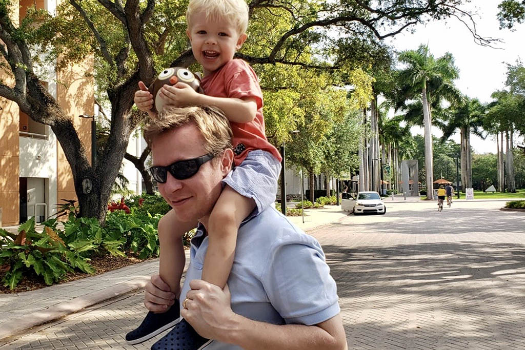 Steven Rust with his son