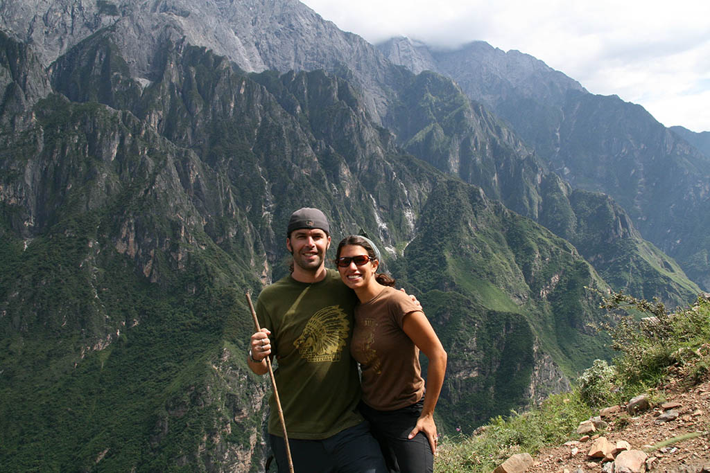 Stephanie and her husband (then boyfriend) trekking through Tiger Leaping Gorge, China