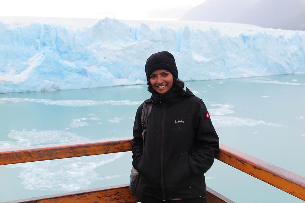 Manisha at Perito Moreno Glacier, Argentina, during her travel career break