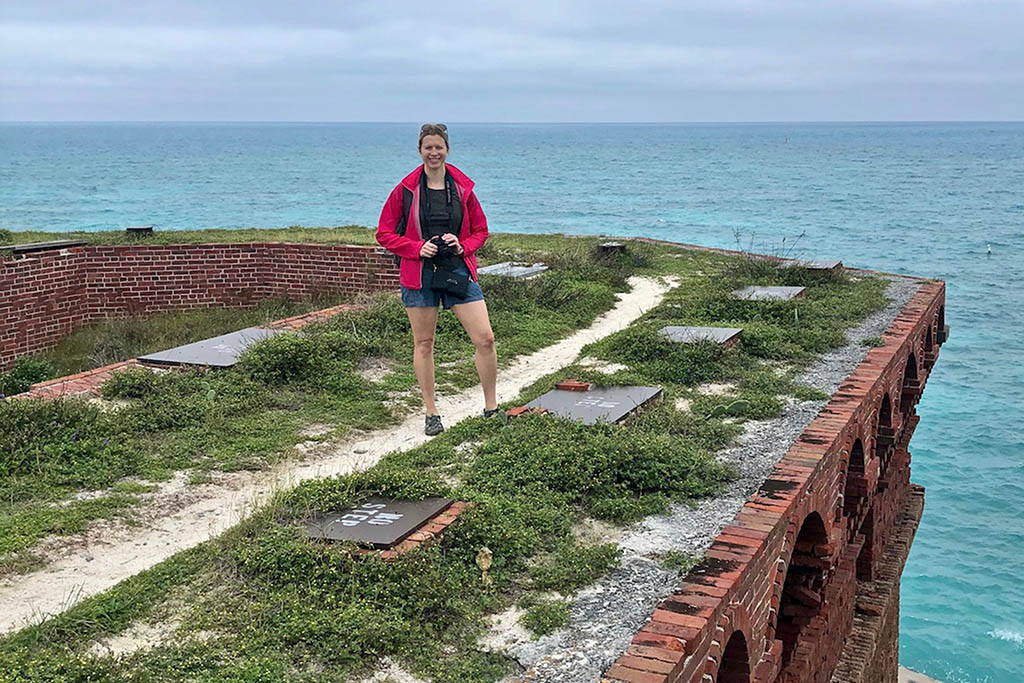 Brianne taking photos at Fort Jefferson in Dry Tortugas National Park