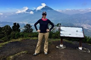 Brianne hiking the Pacaya volcano, Guatemala, while on a press trip after returning from her travel career break