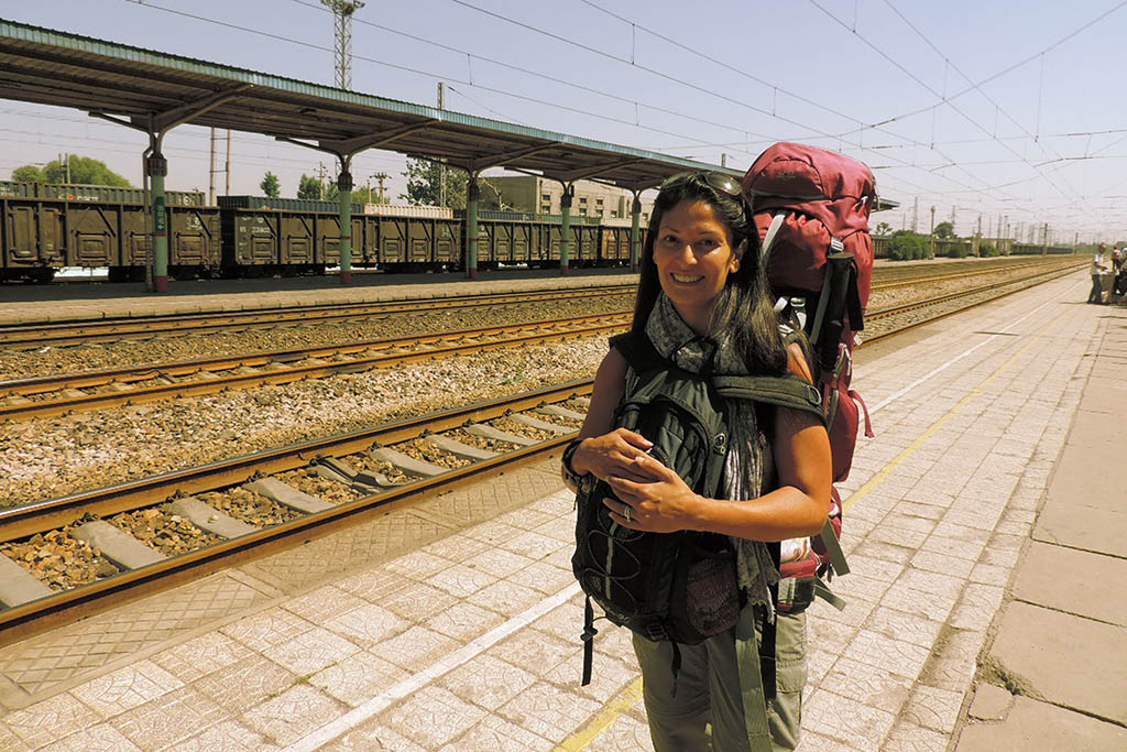 Harjit at a train station in Bagan, Myanmar, during the travel career break