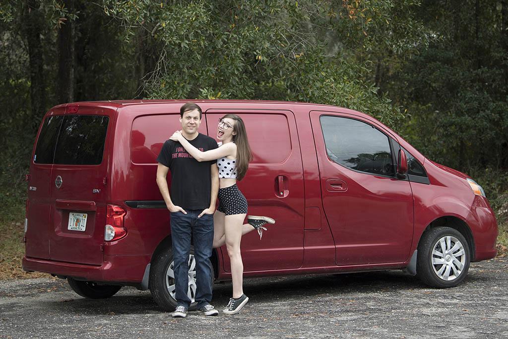 Lauren and Steven with their van