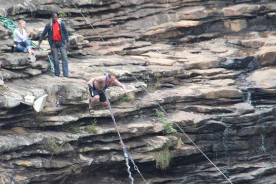 Anthony leaping off the world's highest gorge swing at Oribi Gorge, South Africa