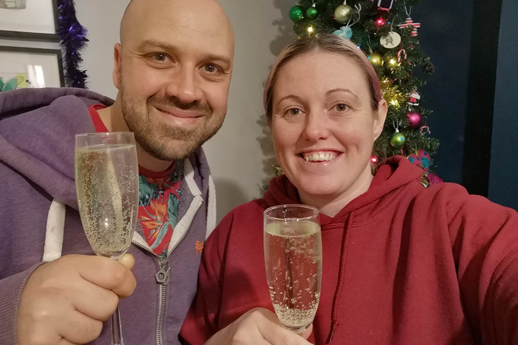 Alex and Lisa Christmas Prosecco