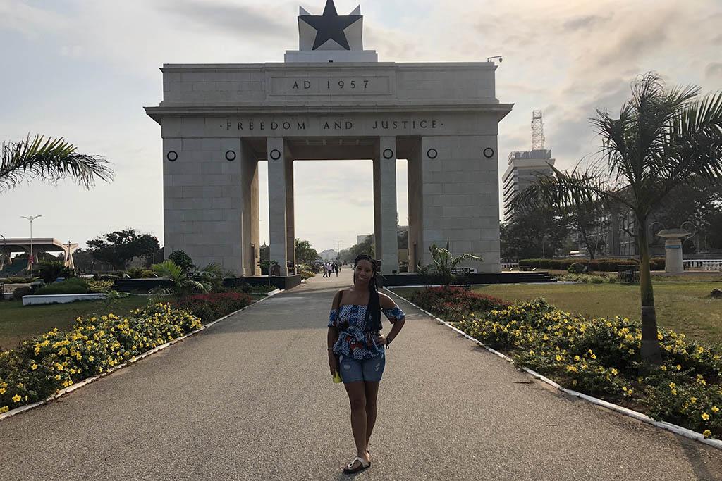 Kemi at the Black Star Gate in Accra, Ghana