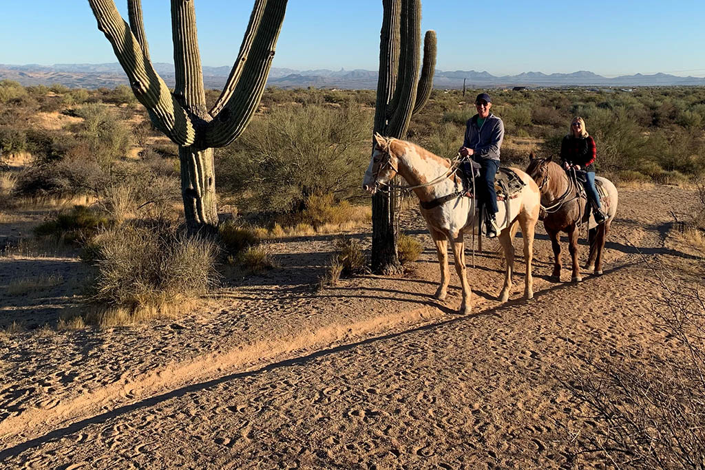 Workcation benefits: Jill Anderson after work horseback riding Scottsdale Arizona
