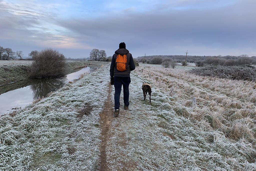 Alex walking Regan Catchwater Drain