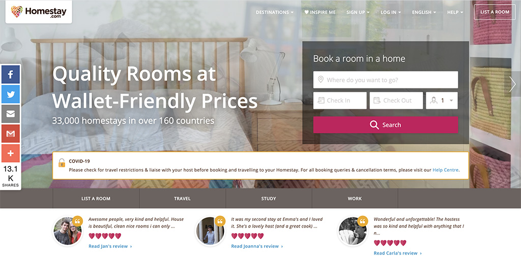 Homestay Airbnb competitors
