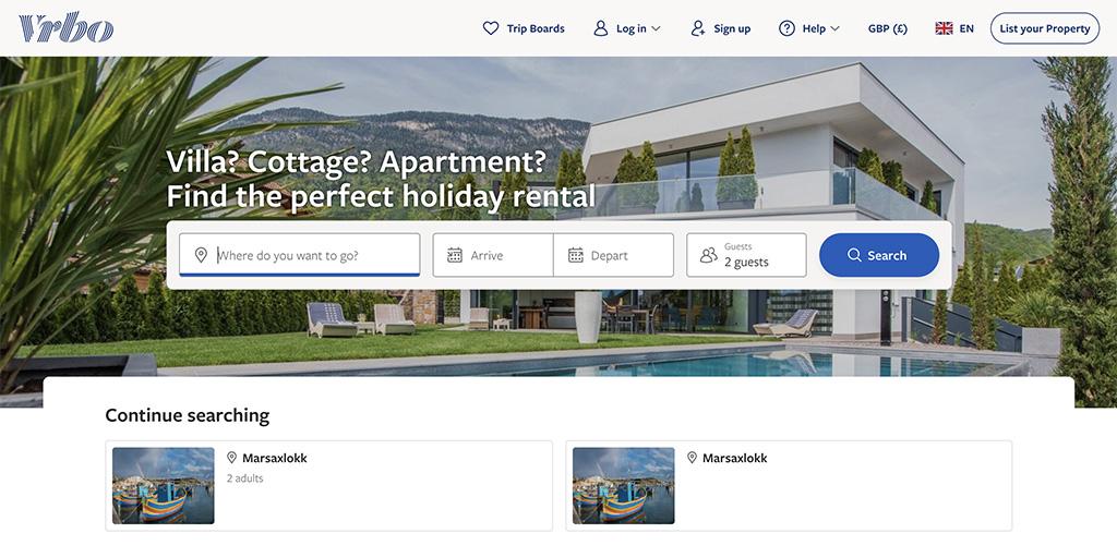 VRBO sites like Airbnb