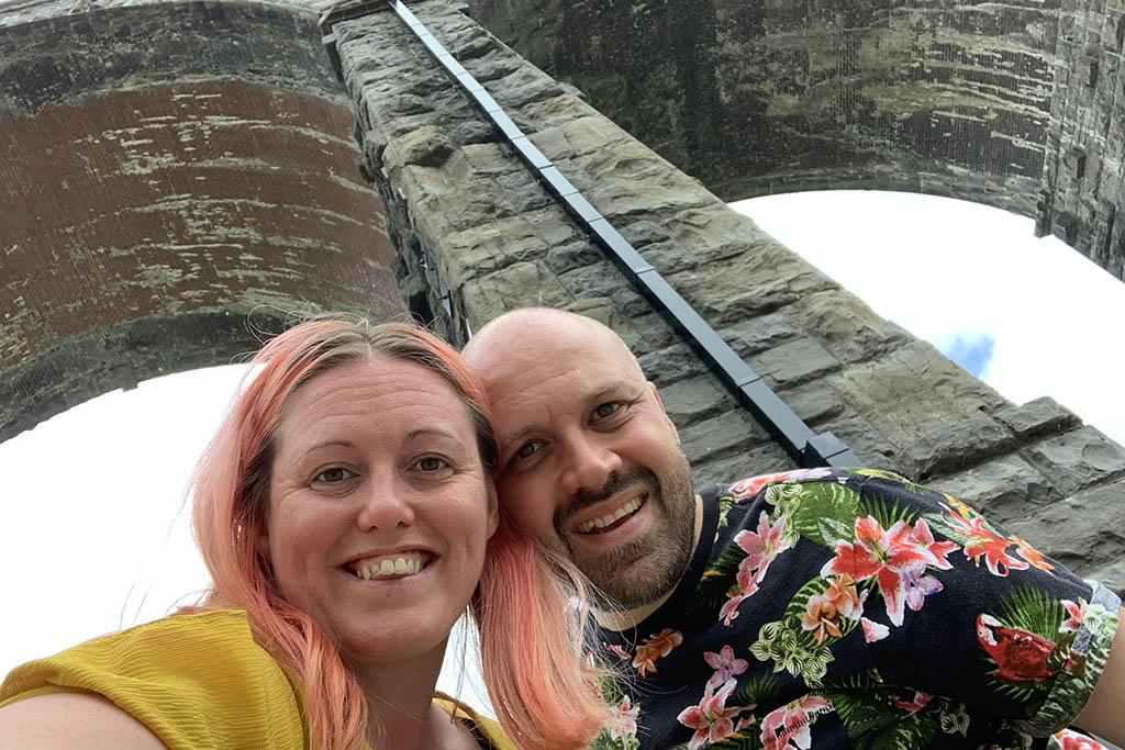 Alex and Lisa under Ribblehead Viaduct