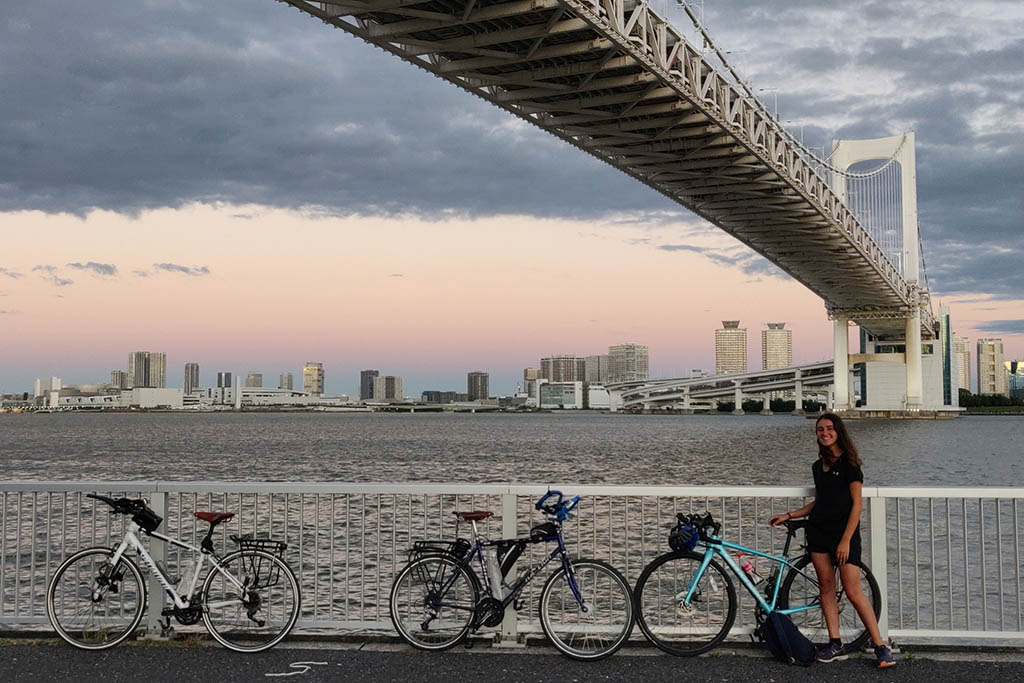 Nellie Khossousi at Rainbow Bridge in Tokyo, Japan